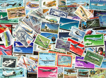 Airplanes and aviation - background of postage stamps Stock Images