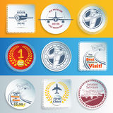 Airplanes and aviation labels and stickers Stock Image