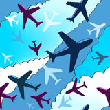 Airplanes background. Seamless background pattern with airplanes. Seamless pattern with plane. Cartoon style Royalty Free Illustration