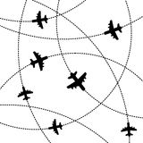 Airplanes Background with Trajectory. Vector Stock Photography