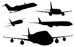 Airplanes in black color Royalty Free Stock Photos