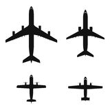 Airplanes. Black top view airplanes vector icon set royalty free illustration