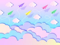 Airplanes,blue sky and clouds. Paper airplanes, sky and clouds. Vector illustration. Paper art style stock illustration
