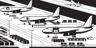 Airplanes at cargo airport. Vector illustration royalty free illustration