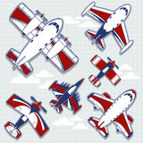 Airplanes cartoon for childish decoration. Set of funny airplanes cartoon for childish decoration in vector format very easy to edit, individual objects vector illustration