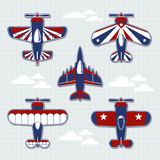 Airplanes cartoon for childish scrapbook Royalty Free Stock Images