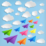 Airplanes with clouds on blue background. Paper airplanes with clouds on blue background stock illustration