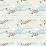 Airplanes on cloudy backgorund pattern Royalty Free Stock Image