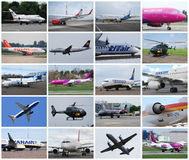 Airplanes collage Royalty Free Stock Photos