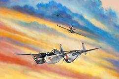 Airplanes with Colorful Sky. Painted mural of 3 fighter jet airplanes with a colorful sky Stock Photo