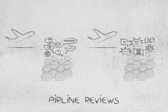 Airplanes with crowd commenting positively and negatively about Royalty Free Stock Photos