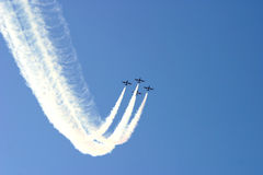 Airplanes demonstrative exercise. Opening of music festival Exit in Serbia Royalty Free Stock Photography