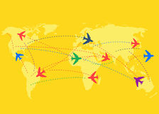 Airplanes and destinations concept. Travel background royalty free illustration