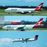 Airplanes. 3 different types of quantas aircraft Royalty Free Stock Images