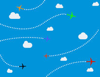 Airplanes and dots vector illustration