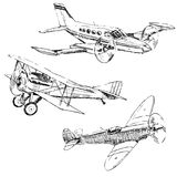 Airplanes drawings. Propeller airplanes drawings on white background Stock Photo