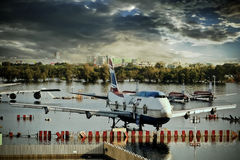 Airplanes drown in the water Stock Photography