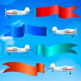 Airplanes Flags Banners Realistic Royalty Free Stock Photo