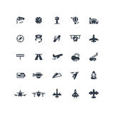 Airplanes and flight black vector icons stock illustration