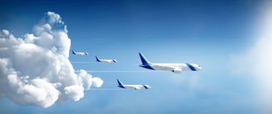 Airplanes fly away. Aircrafts travel in different destinations in widescreen side view Stock Photography