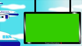 Flying aircraft and airport information desk with chroma key screen in blue sky stock photos