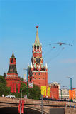 Airplanes fly over Red Square Stock Images