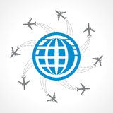 Airplanes flying around the world Stock Photography
