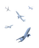 Airplanes flying in different directions Royalty Free Stock Photos
