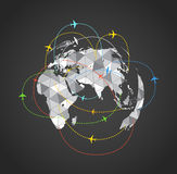 Airplanes flying over the abstract Earth map royalty free illustration
