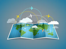 Airplanes flying over the abstract map vector illustration