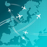Airplanes flying over map of Europe, travel design royalty free illustration