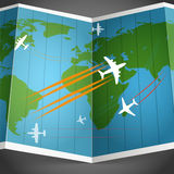 Airplanes flying over the world map stock illustration