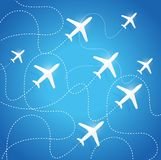 Airplanes flying in the same path Royalty Free Stock Photos