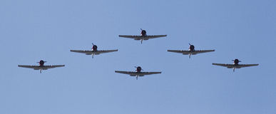 Airplanes in formation. At an air show in Cocoa Beach Stock Images