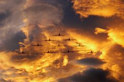 Airplanes in formation Royalty Free Stock Photo
