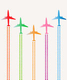 Airplanes group vector illustration