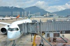 Airplanes in Hongkong Airport Royalty Free Stock Photo