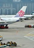 Airplanes in Hongkong Airport Stock Image