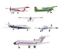 Airplanes illustration. Detailed drawings of various airplanes Royalty Free Stock Images