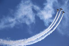 Airplanes. International air show in Bucharest Royalty Free Stock Image