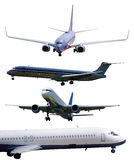 Airplanes isolated with outline paths included stock images