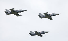 Airplanes L-39 Albatros at airshow stock photo