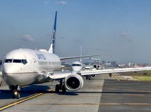 Airplanes in line Royalty Free Stock Images