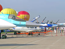 Airplanes at MAKS airshow Stock Images