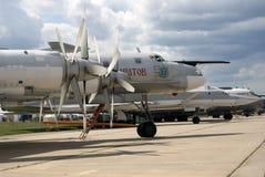 Airplanes at MAKS International Aerospace Salon MAKS-2017 royalty free stock photo