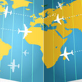 Airplanes and the map stock illustration