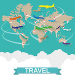 Airplanes map with routes Stock Image