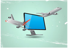 Airplanes and monitor Royalty Free Stock Images