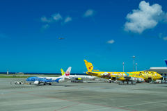 Airplanes at Okinawa airport Stock Photo