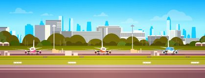 Airplanes Over Airport Building, Modern Terminal With Plane On Runway Waiting For Take Off Modern City Background vector illustration